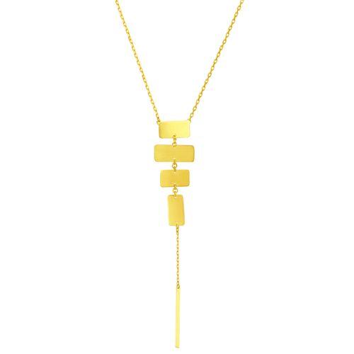 Gargantilha em Ouro 18K Gravata com Placas - AU5534