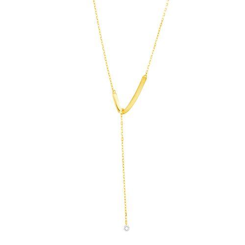 Gargantilha em Ouro 18K Gravata Lisa e Fosco - AU4893 - 50CM