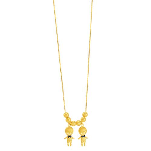 Gargantilha em Ouro 18K Meninos com Safira - AU5730