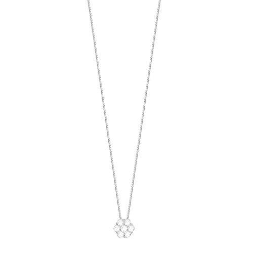 Gargantilha em Ouro Branco 18K Flor com Diamantes - AU4010 - 45CM