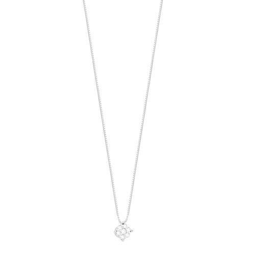 Gargantilha em Ouro Branco 18K Flor com Diamantes - AU4953 - 45CM
