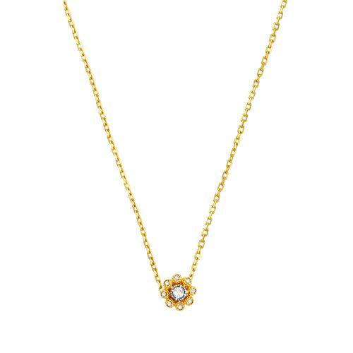 Gargantilha Ouro 18K Flor com Brilhantes - AU2383 - 45CM