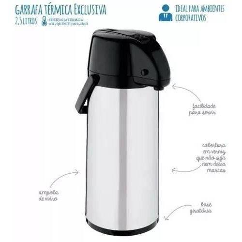 Garrafa Térmica Aço Inox Exclusiva 2,5 Litros - Soprano