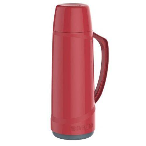 Garrafa Térmica Cristal 1 Litro Vermelha Quente e Frio