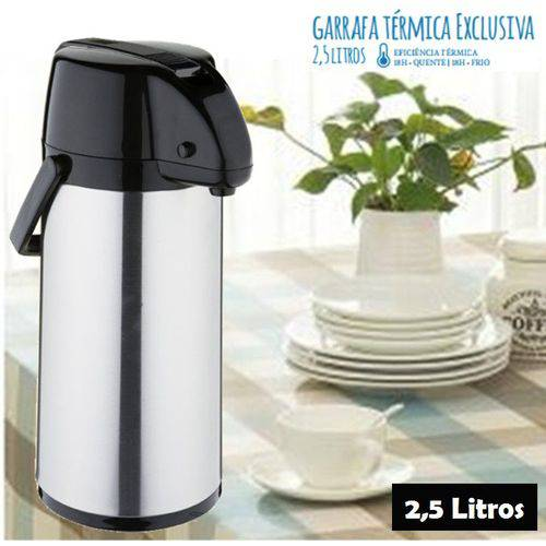 Garrafa Térmica Exclusiva 2,5 Litros Inox Água Café Soprano