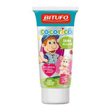 Gel Dental Bitufo Cocoricó Sem Flúor Sabor Tutti Fruti 90g