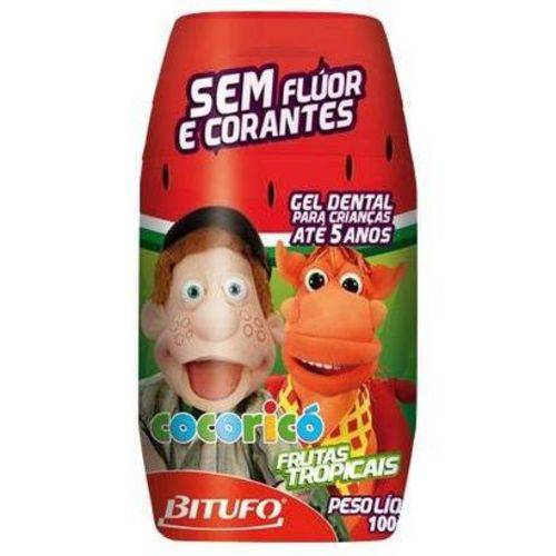 Gel Dental Infantil Cocoricó Bitufo Sem Flúor Tutti-frutti 90g