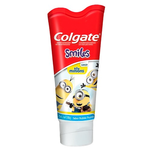 Gel Dental Infantil Colgate Smiles Minions com Flúor Sabor Bubble Fruit com 100g