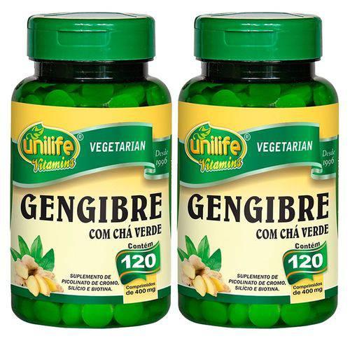 Gengibre com Chá Verde - 2 Un de 120 Comprimidos - Unilife