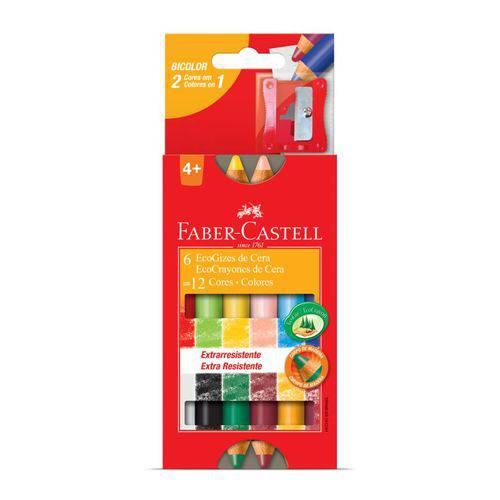Giz de Cera Bicolor Corpo de Madeira Faber Castell6 Gizes 12 Cores