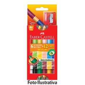 Giz de Cera Bicolor Estojo com 06 Un/12 Cores e Apontador Faber-Castell