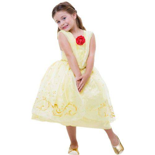 Global Fantasias - Bela e a Fera - Vestido Bela com Luz e Som (Tamanho P)