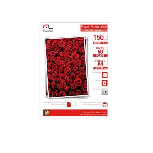 Glossy Paper com 150 Gr Tamanho A4 com 50 Folhas Multilaser