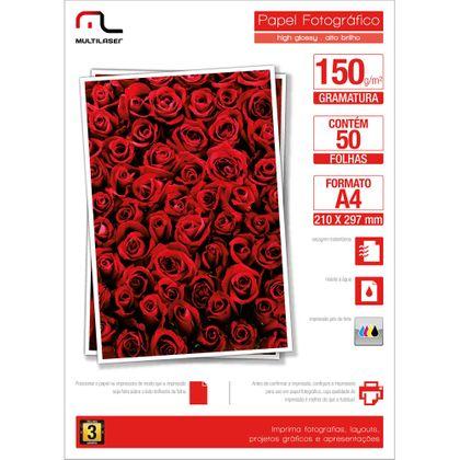 Glossy Paper Multilaser Pe003 A4 150G C/ 50 Folhas - Branco - PE003 PE003