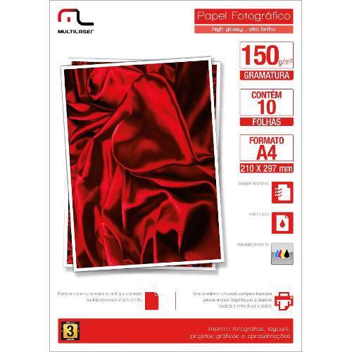 Glossy Paper Multilaser Pe002 A4 150g com 10 Folhas - Branco