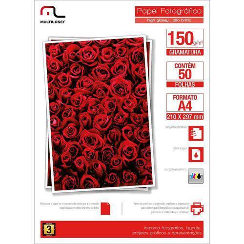 Glossy Paper Multilaser Pe003 A4 150g COM 50 Folhas - Branco