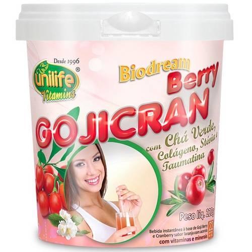 GojiCran Berry Solúvel 220g Biodream com Chá Verde, Colágeno, Stévia e Taumatina - Unilife
