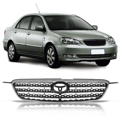 Grade Dianteira Corolla e Fielder 2005 a 2008 Xei com Moldura e Friso Horizontal Cromado