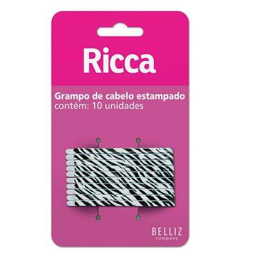 Grampo para Cabelo Ricca Style Zebra com 10 Unidades