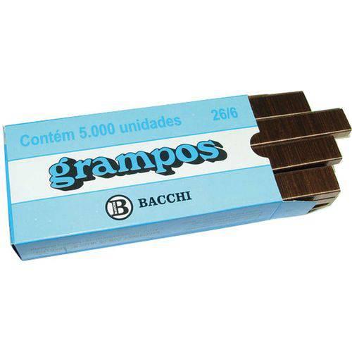 Grampo para Grampeador 26/6 Cobreado 5000 Grampos Bacchi Caixa
