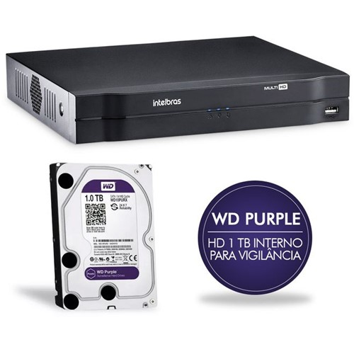 Gravador Digital de Vídeo 04 Canais MHDX com HD 1TB Multi-HD 1004 4580269/4580278 Intelbras