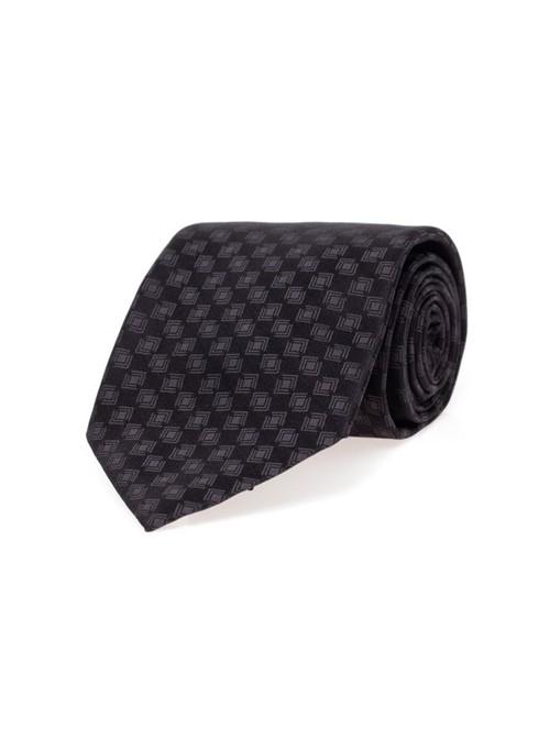 Gravata de Seda Estampada Preta