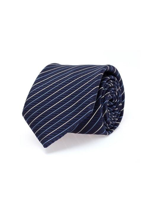 Gravata de Seda Listrada Azul