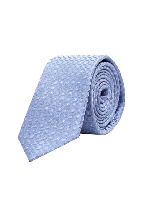 Gravata de Seda Quadriculada Azul