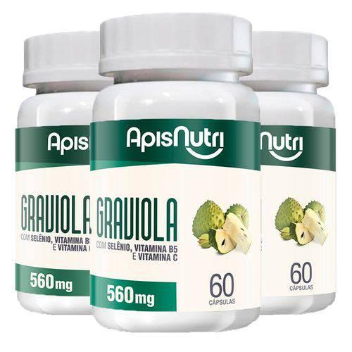 Graviola - 3 Un de 60 Cápsulas - Apisnutri