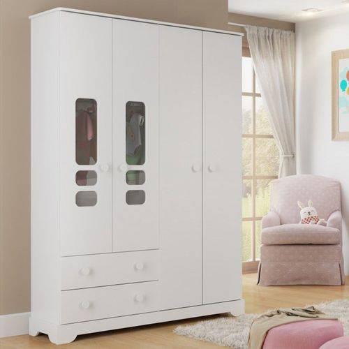 Guarda Roupa 4 Portas Smart - Branco Brilho - Matic Móveis