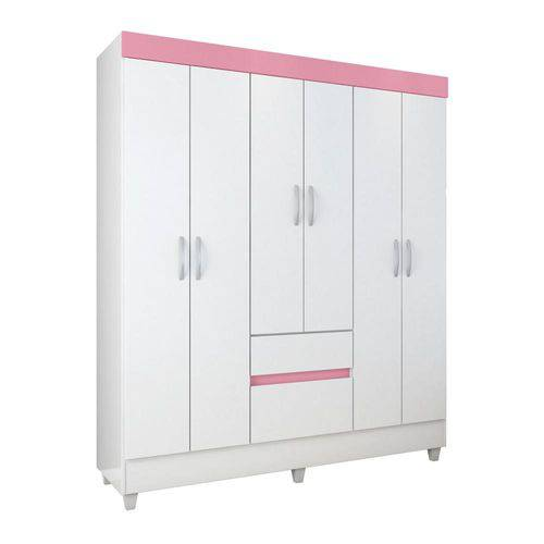 Guarda Roupa 6 Portas Soft Demóbile - Branco/rosa