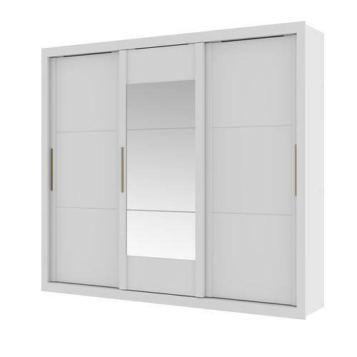 Guarda Roupa Argos com Espelho 3 Portas Branco e Native Flex Carraro
