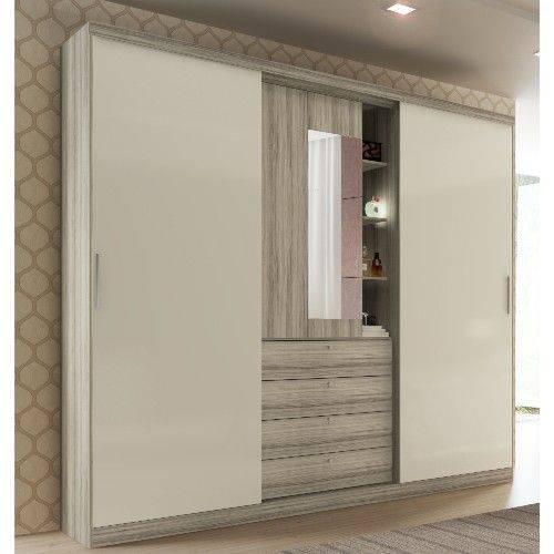 Guarda-roupa Carraro Aries 1071 com Espelho 2 Portas e 4 Gavetas Anis com Camurça