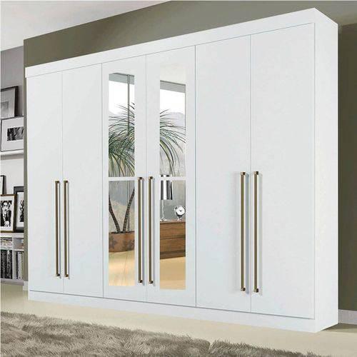Guarda Roupa Casal 4 Espelhos 6 Portas Diamante Branco - Leifer