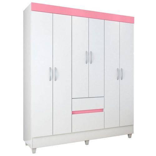 Guarda Roupa Casal 6 Portas Soft - Branco/Branco - Branco/Rosa