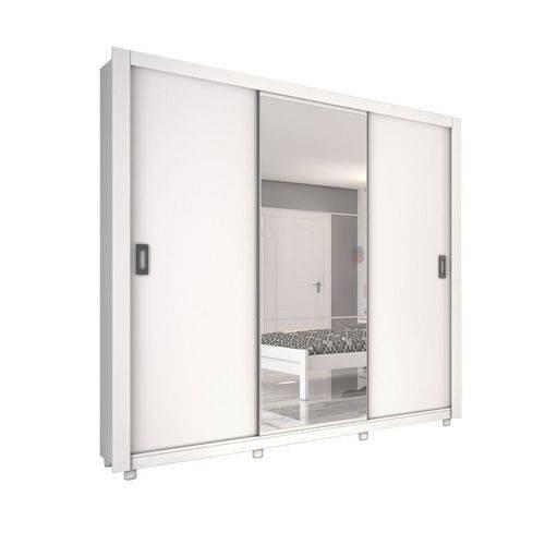 Guarda-roupa Casal Alaska com Espelho e Pes 3 Portas 3 Gavetas Branco