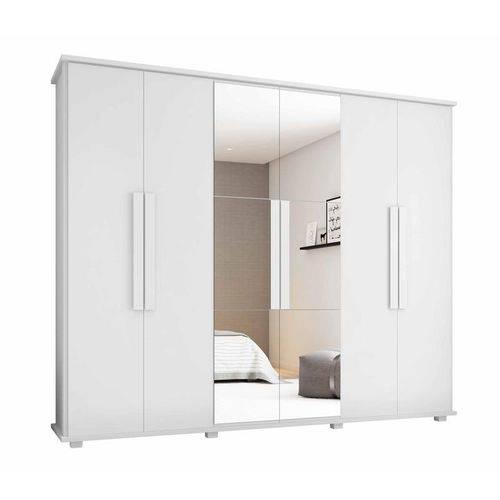 Guarda-Roupa Casal Branco com Espelho 6 Portas 4 Gavetas Canada - RV Moveis