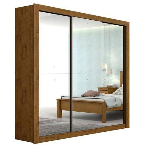 Guarda Roupa Casal C/ Espelho 3 Portas 3 Gavetas Apoena Super Glass Rovere Soft Móveis Lopas