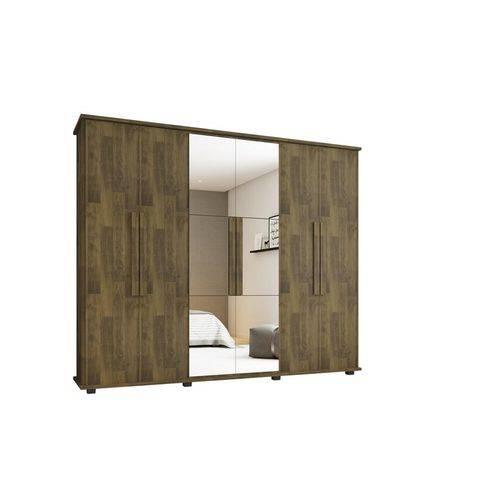 Guarda-roupa Casal Canada com Espelho 6 Portas 4 Gavetas Amandeirado