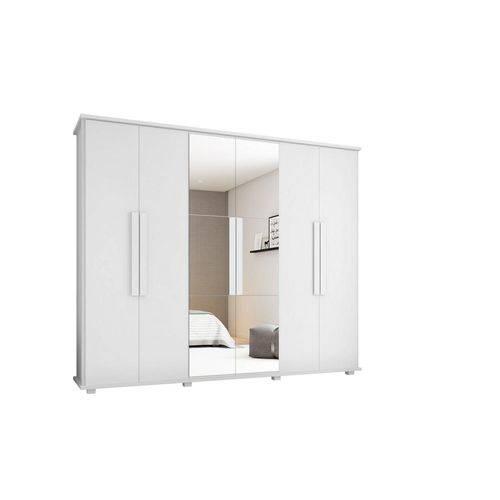 Guarda-roupa Casal Canada com Espelho 6 Portas 4 Gavetas Branco