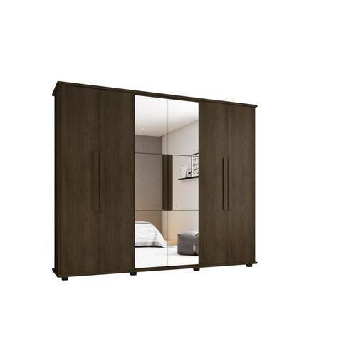 Guarda-roupa Casal Canada com Espelho 6 Portas 4 Gavetas Noce