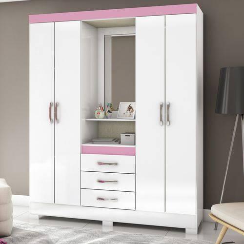 Guarda Roupa Casal com Espelho 4 Portas 3 Gavetas Flex Color Briz Branco/Rosa