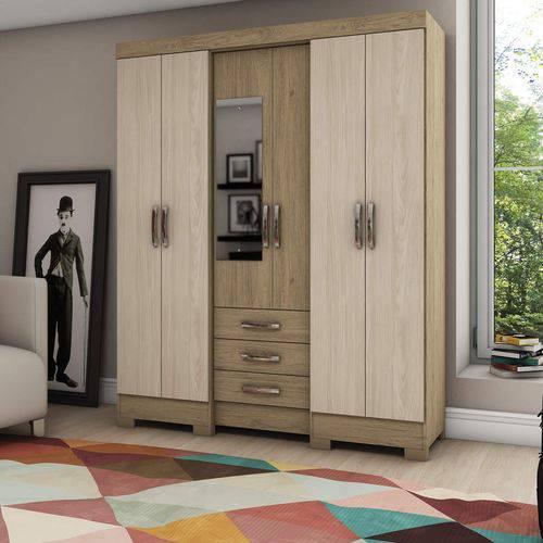 Guarda Roupa Casal com Espelho 6 Portas 3 Gavetas Briz Rústico/Fendi