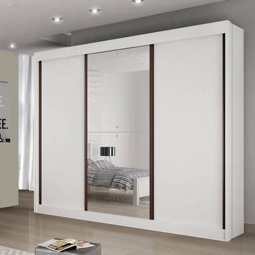 Guarda Roupa Casal com Espelho 3 Portas 6 Gavetas Napoli Bianchi Móveis Branco