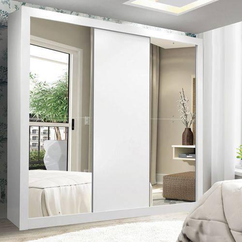 Guarda Roupa Casal com Espelho 3 Portas de Correr Accord Flex Siena Móveis Branco