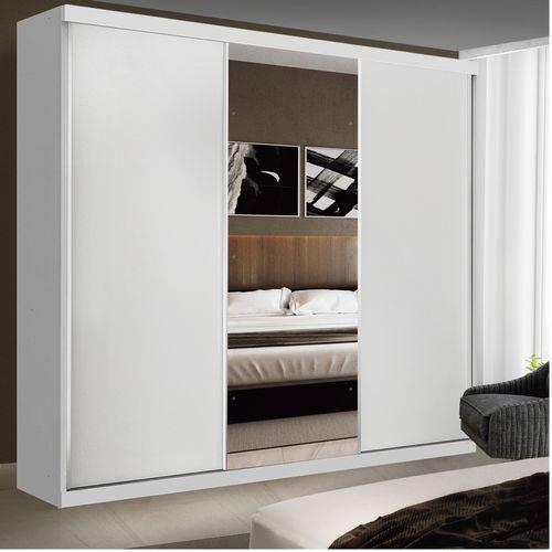 Guarda Roupa Casal com Espelho 3 Portas de Correr Evidence Siena Móveis Branco