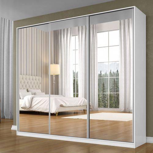 Guarda Roupa Casal com Espelho 3 Portas de Correr 3 Gavetas Siena Móveis Branco