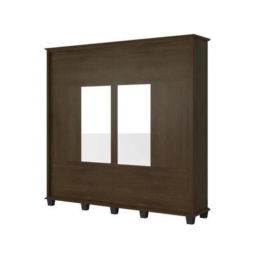 Guarda-roupa Casal Monte Carlo com Espelho 2 Portas 4 Gavetas Noce
