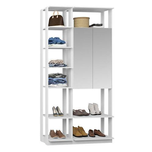 Guarda-Roupa Closet 2 Portas Espelhadas 9007 Branco - Bentec