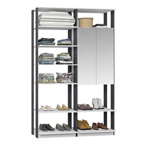 Guarda-Roupa Closet 2 Portas Espelhadas 9012 Branco/Espresso - Bentec